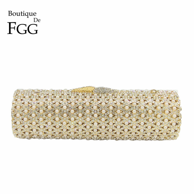 Boutique De FGG Hollow Out Crystal & Beaded Women Gold Evening Minaudiere Bags Wedding Party Handbag Bridal Mini Clutch Purse colorful hollow out apple shape women gold crystal clutch evening bag wedding party cocktail minaudiere handbag purse