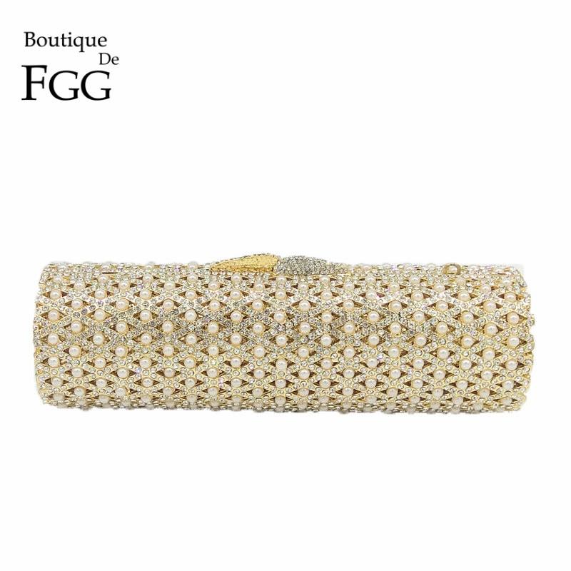 Boutique De FGG Hollow Out Crystal & Beaded Women Gold Evening Minaudiere Bags Wedding Party Handbag Bridal Mini Clutch Purse все цены