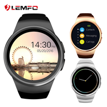 2017 KW18 Reloj inteligente Bluetooth Soporta la tarjeta SIM y TF  Monitor de ritmo cardíaco La pantalla redonda para el sistema IOS y Android