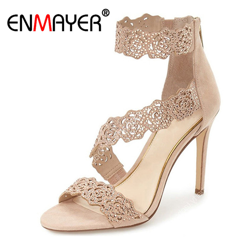 ENMAYER Fashion Summer Women Pumps Extreme High Heels Cover Heels Zippers Open Toe Lace Sexy Women Shoes Party Shoes Plus Size enmayer 2017 hot fashion extreme high heels round toe slip on sexy silver shoes women new style summer women pumps for party 41