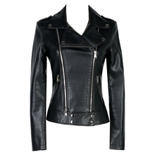 Women Short Design Leather Jacket Ladies Autumn Winter Casual Motorcycle PU Jacket Coat Long Sleeve Solid Color Slim Outerwear
