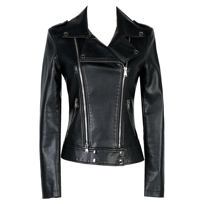 Women Short Design   Leather   Jacket 2018 New Spring Ladies Motorcycle PU Jacket Coat Long Sleeve Solid Color Slim Female Outerwear