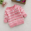 1-3years малыш девушки хлопок кардиган девушки свитера весна осень детей свитер розовый лук один шеи полосатые свитера