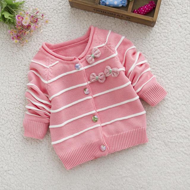 1-3years muchachas del niño niñas cardigan de algodón suéteres de primavera otoño niños suéter rosa arco un cuello suéteres de rayas