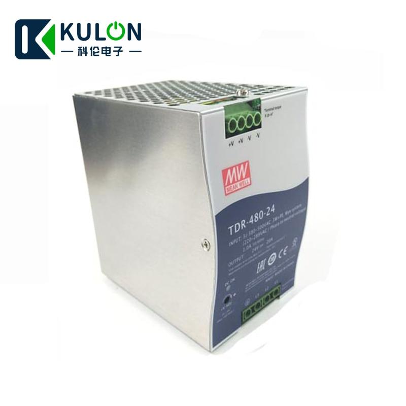 MEANWELL TDR-480-24 340-550VAC large gamme d'entrée à DC trois Phase Industrielle RAIL DIN alimentation à découpage 480 W 24 V 20A - 2