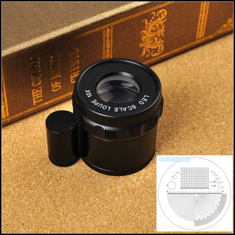 Protable Desktop 10x Adjustable Magnifier Optical Glass Lope Magnifying Glass with Measure Scale and 8 LED Light