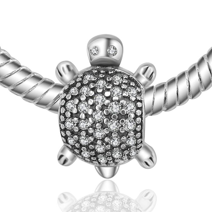 Authentic 925 Sterling Silver Bead Charm Mini Little Turtle Crystal Beads Fit Original Pandora Bracelets & Bangles Necklace