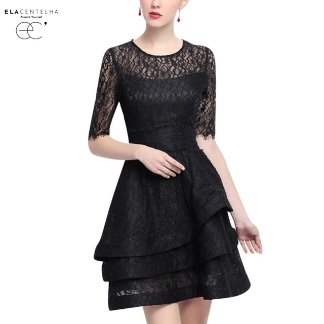 ElaCentelha Women Dress Spring Summer Short Sleeve Black Lace Layered  Dresses Elegant Ladies Perspective Lace Empire 67e3613d9a