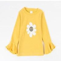 Znosić Odzież Koreański Trzy Kolor Dzieci T koszula Dziewczyny Bluzka bluzki Casual B0305 pagoda rękaw dziewczynek Tee ubrania dla dzieci