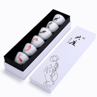 6PCS New Personal Tea Cup Set Jingdezhen Blue and White Porcelain Mug Hand painted Fish Chinese Kung Fu Drinkware With Gift Box