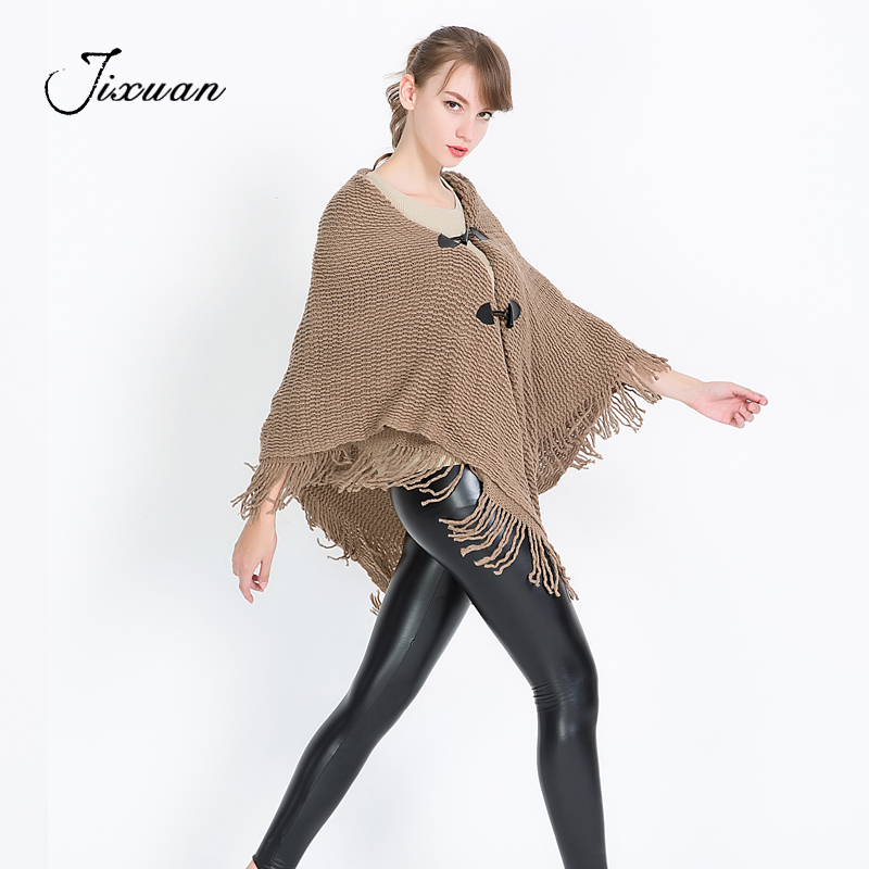 Soft Cotton Winter Scarf Women Clothing knitted Warm Pashmina Tassel Fashion Female Red Black Poncho Corduroy Capes With Button in Women 39 s Scarves from Apparel Accessories