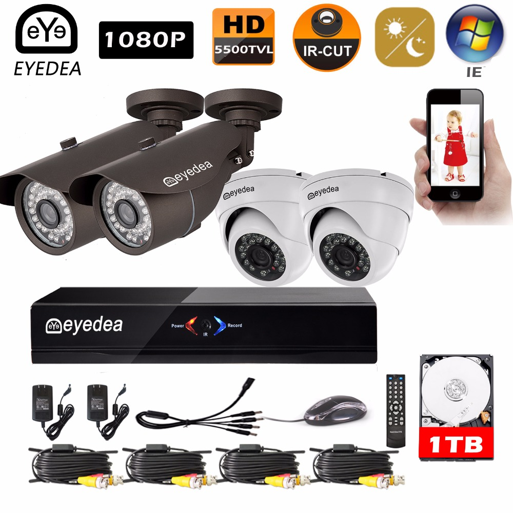 Mothers Day Eyedea Surveillance DVR 8 CH 1080P Bullet Dome CMOS Outdoor Waterproof Night ...
