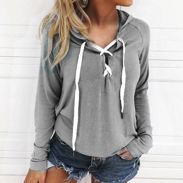 Preself Autumn Section Women Casual Long-sleeved Straps Open Chest Hooded