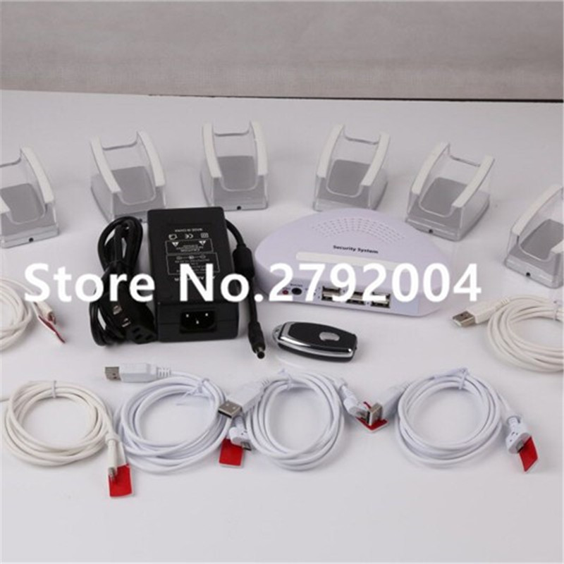 6 ports security mobile display holder with font b alarm b font Retractable Security Cell Phone