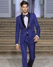 New Style Groomsmen Shawl Black Lapel Groom Tuxedos Royal Blue Mens Suits Wedding Best Man (Jacket+Pants+Tie+Hankerchief) B758