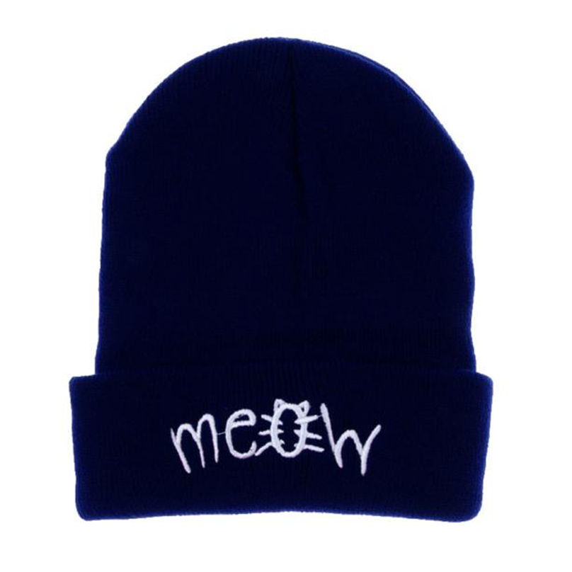 High quality Casual Attractive Luxury Winter Knitting MEOW Beanie Hat And Snapback Men And Women Hiphop Cap  MR13 winter knitting meow beanie hat and snapback men and women hiphop cap knitting wool stylish nov 20
