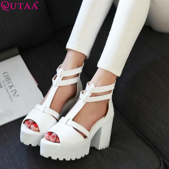 Vinlle 2015 sandalias de la plataforma del alto talón zapatos de las nuevas mujeres moda PU sandalias verano casual tamaño 34-43