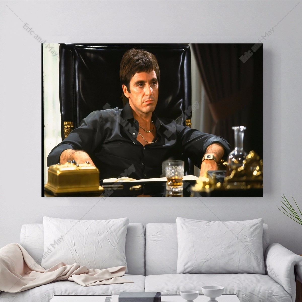 Scarface money power respect vinyl wall decal for home decore - Scarface Movie Artwork Canvas Art Print Painting Poster Wall Picture For Living Room Home Decorative Bedroom Decor No Frame