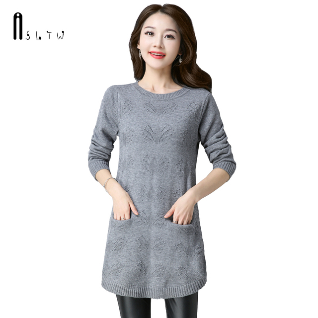 ASLTW Long Sweater For Women Fashion Solid Female Sweater Dress With Two Pockets Long Sleeve Women Sweaters and Pullovers