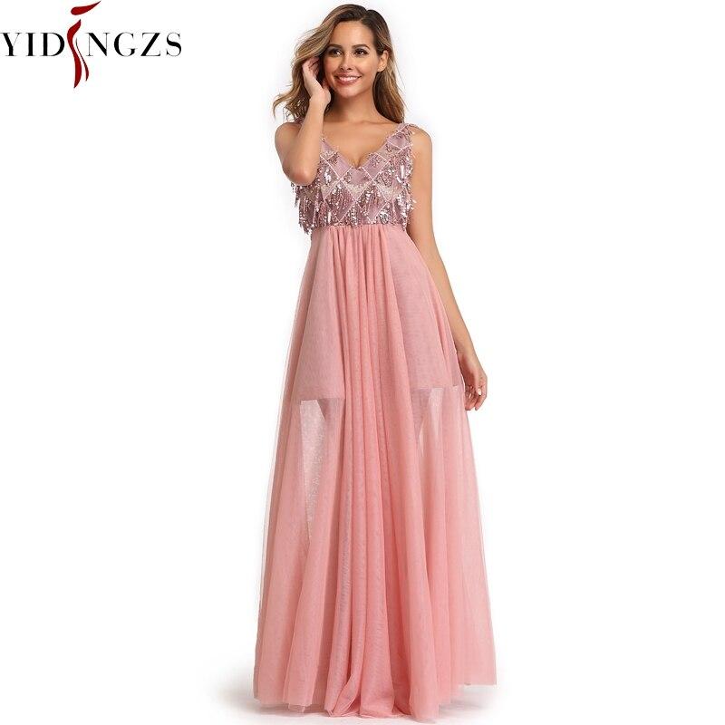 YIDINGZS 2019 Elegant V-neck Tassel Pink Tulle   Prom     Dress   Sleeveless Long Party   Dress