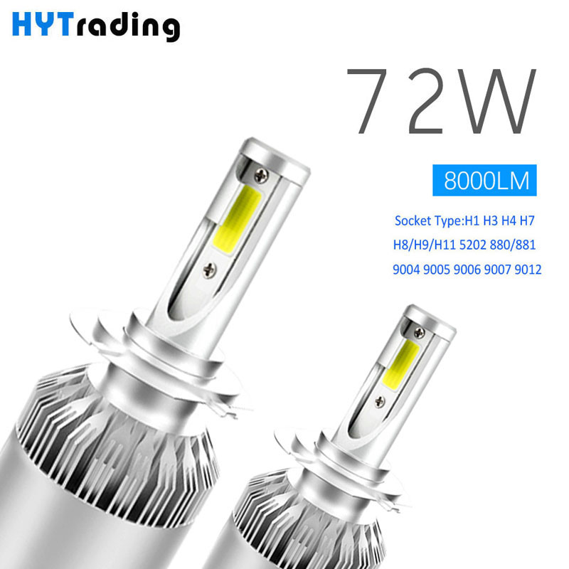 Luces Led Para Auto, H4 H7 H1 H13 9005 9006 Led COCHE faros bombillas, coche Led H11 8000LM blanco frío, C6 72 W Car Styling Accesorios