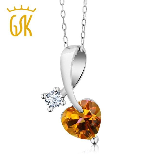 GemStoneKing 1.41 Ct Heart Shape Twilight Orange Mystic Topaz 925 Sterling Silver Pendant Necklace For Women