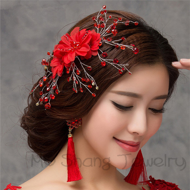 Bridal Hairpins Crystal Hair Combs With Red Flower Hair Jewellery