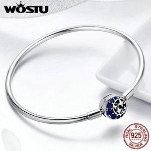 Image 4 - WOSTU אותנטי 925 כסף סטרלינג ירח וכוכבים כחול שמיים קסם צמיד לנשים מקורי תכשיטים מאהב מתנה CQB080