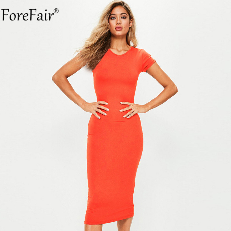 Forefair Women Summer Dress 2018 Short Sleeve O Neck Cotton Slim Bodycon Dresses Army Green Black Basic Casual Midi Dress
