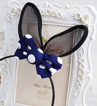 Fashion Hair Accessories Cute Rabbit Ears Hairbands Dot Print Bowknot Hairsticks Black Bunny Clips For Girls 2 PIECES