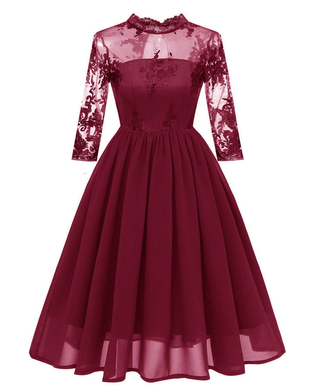High Neck Long Sleeve Burgundy Navy Embroidery   Cocktail     Dresses   Robe Chiffon Elegant Party 2019 Short Vestidos Homecoming   Dress