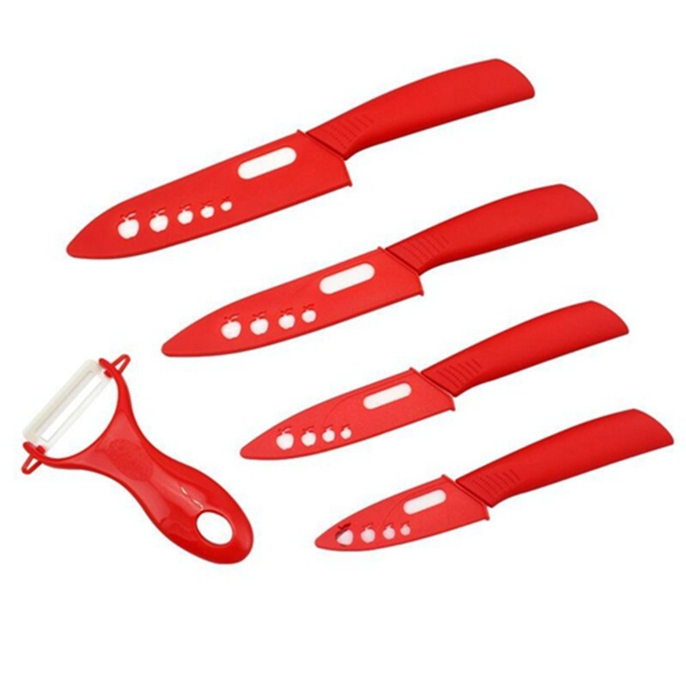 Generic Kitchen Ceramic Knife Set 3 4 5 6 Inch Fruit Vegetable Meat Zirconia Knives Set With Peeler king double krn a5t 5 zirconia ceramic utility knife w sheath red white
