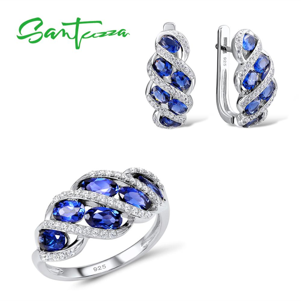 Santuzza Silver Jewelry Sets For Women Blue Cubic Zirconia Stone Ring Earrings Pure 925 Sterling Silver