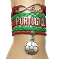 Envío de la gota del Infinito Amor de Portugal Equipo de Club World Cub Deportes Charm Pulsera Personalizada Amistad Hecha A Mano de Cuero de Regalo