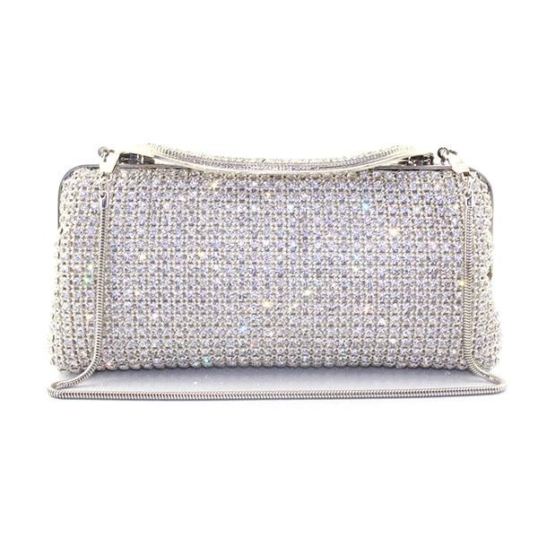 Wedding Bridal Handbag Women Woven Evening Bag Metal Frame Crystal Clutches Handbags Bridesmaid Clutch Purse(T008-BG)