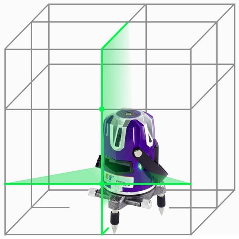 KaiTian Laser Level 2 Green Cross Line 2 Point 360 Rotary Horizontal 532nm Vertical Self Leveling