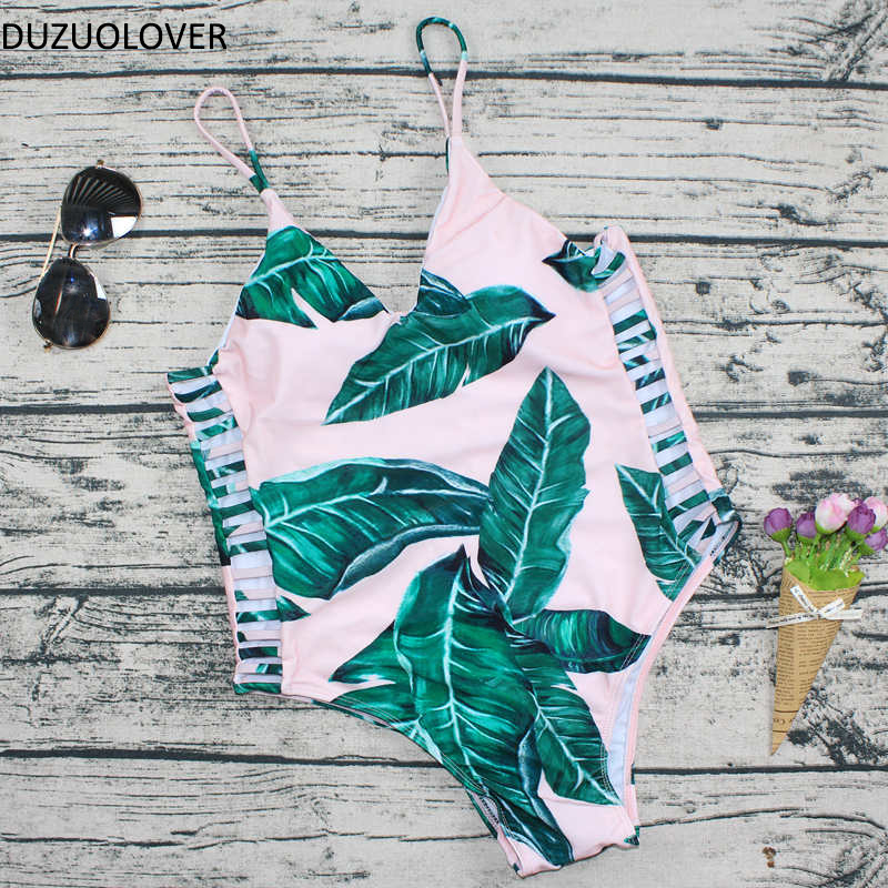 Banana Leaf Print Padded Swimsuit New One Piece Swimsuit Sexy Cut out Swimwear Women Printed Bodysuit Bathing Suit Women