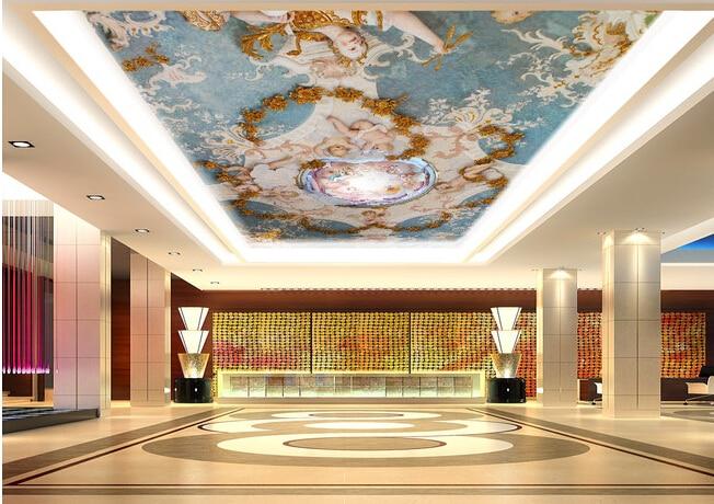 US $30.0 |Benutzerdefinierte decke wandbilder wallpaper, die garten Eden  Engel wandbilder für wohnzimmer schlafzimmer decke wand PVC papel de parede  ...