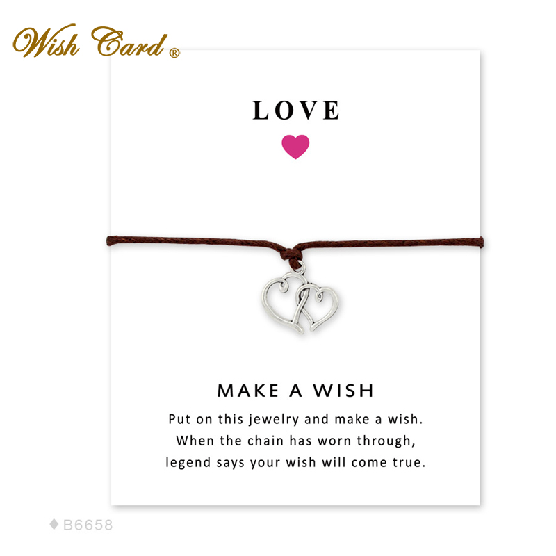 Wish Card Double Heart Love Bracelet For Women Jewelry Friend Gift Card Collares Mothers Day Jewelry Adjustable Bracelet Wj0010 Consumers First Charm Bracelets Jewelry & Accessories