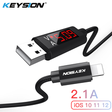 US $4.99 |KEYSION 2.1A LED Digital USB Cable For iPhone XS Max XR 8 7 Plus Charger Voltage Current Display Charge Data Nylon Braided Cable on Aliexpress.com | Alibaba Group