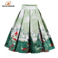 Vintage Retro Floral Print Skirts Womens High Waist Rockabilly Pleated Audrey Hepburn Style Saias Midi Swing