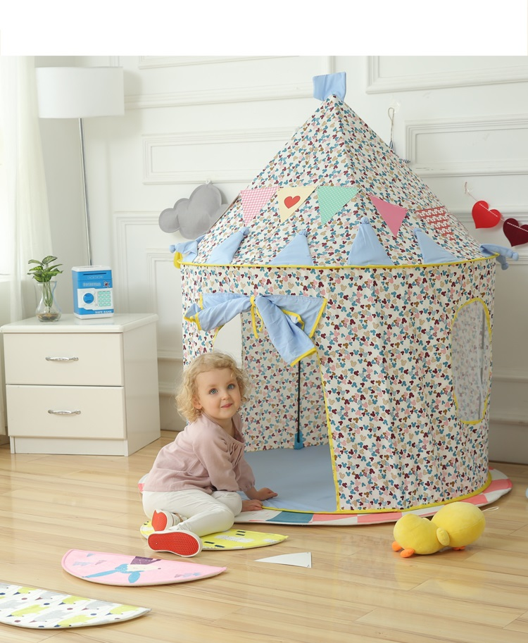 Patio juegos tienda de campaña para niños 105 cm 125 juego al aire libre de nailon tienda de Juego plegable para niños Casa de bebé tienda de juego azul/Rosa hing-Q