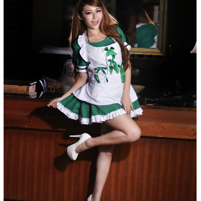 Women Exotic Apparel french maid costume green lingerie sexy