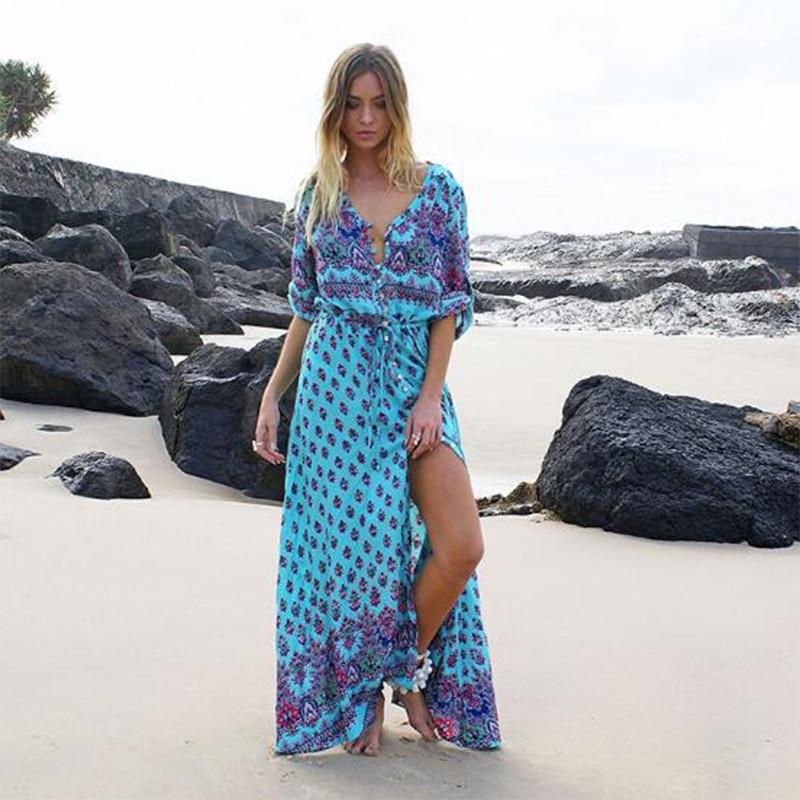 New Summer Women Maxi Dress Sukienka Vestido Feminino Bohemian Print Dress Beach Trailer Swing Long Dresses Free Delivery A1022 Unequal In Performance Women's Clothing
