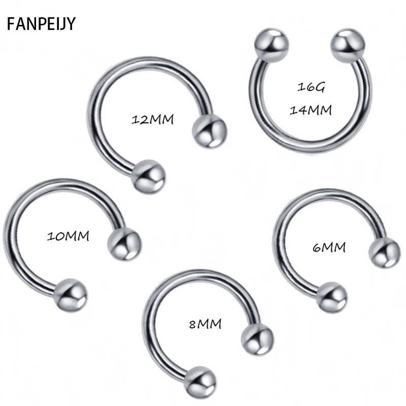 Fanpeijy Unisex Stainless Steel Horseshoe Hoop Ear Cartilage Helix