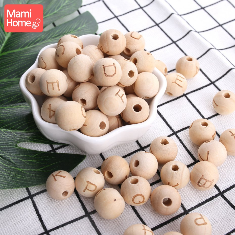 Mamihome10pc 14mm Wooden Letter Beads BPA Free Baby Teether DIY Necklace Pacifier Chain Pendan Children'S Goods Toy Wooden Blank