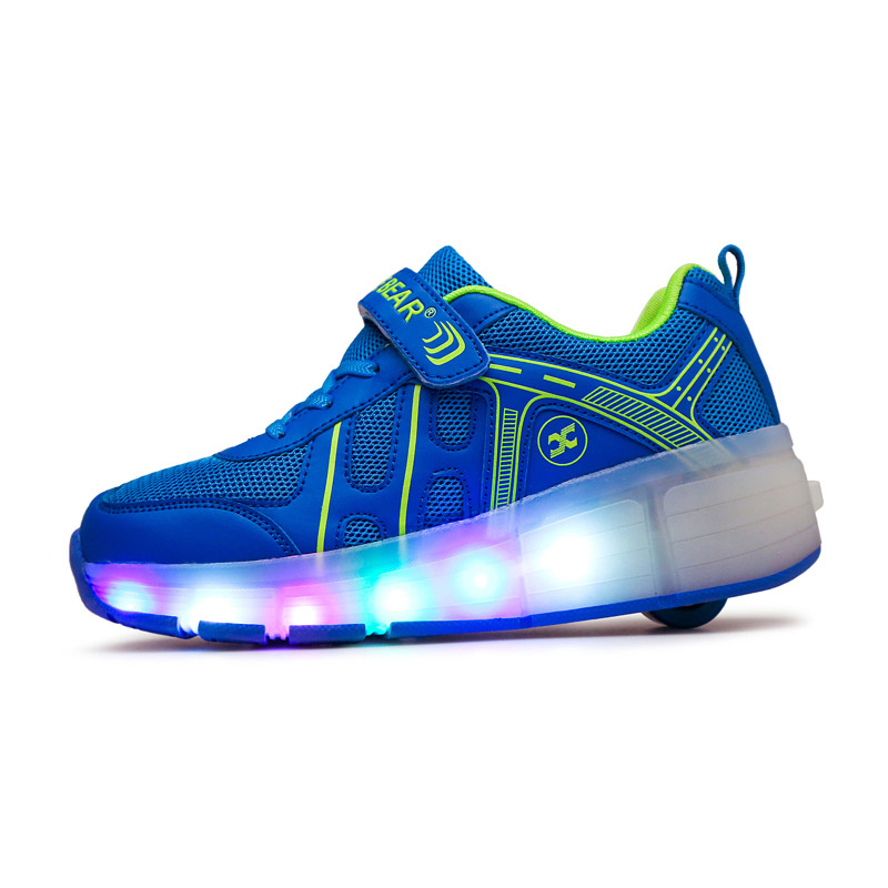 BABAYA Children Light Shoes with Wheel Breathable Mesh Boys Girls Luminous Sneakers with Wheel Kids Glowing Shoes A75 kids shoes boys led lights sneakers with wheels single wheel glowing children shoes