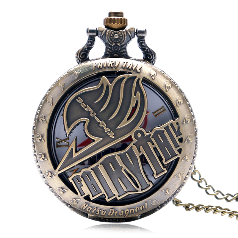 Vintage Pocket Watches Animate Fairy Tail Pattern Hollow Natus Dragneel Design Quartz Fob Watch With Necklace Chain