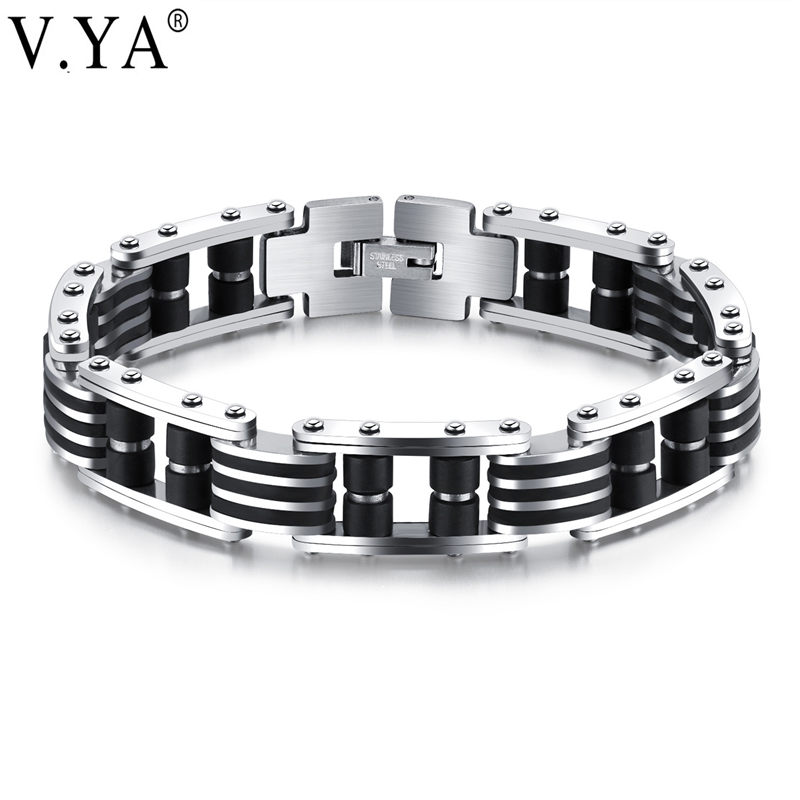 V.YA Men Bracelet High Quality Stainless Steel Silicone Bracelets Bangles Punk Jewelry Accessories For Man Best Friends Dropship
