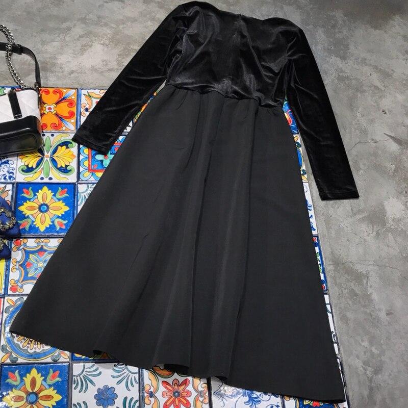 Longues Carré À 2018 Col Femmes Manches De Robe Luxe Marque Pour Noir Designer Maxi AqwZxfOx